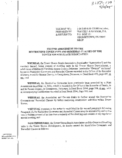"TSBA Restrictive Covenants Amendment #2 ""Noise Moratorium"" Approved May 2005"